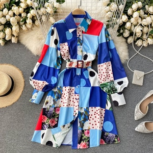 2021 vintage fashion printing hubble-bubble sleeve lapel accept waist with a single-breasted shows female dress