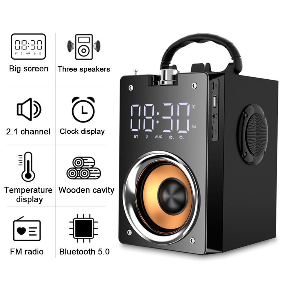 Altavoz Bluetooth portátil de alta potencia inalámbrico estéreo Subwoofer graves pesados caja de sonido para parlantes soporte FM Radio TF AUX USB