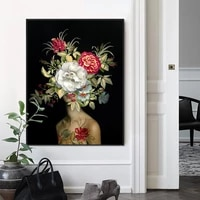 modern nude women with flower on the head oil painting on canvas print nordic poster wall art picture for living room home decor