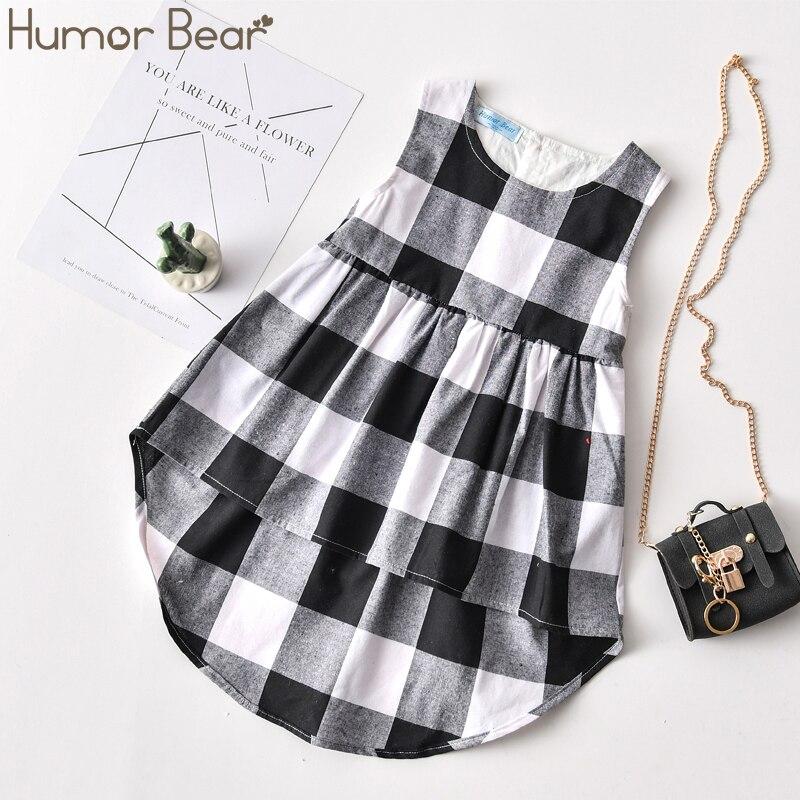 Humor Bear/Детская летняя новая одежда для маленьких девочек, 2020 г. Черно-белое модное платье в клетку с коротким передом и длинной спинкой для ма...