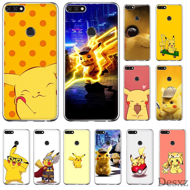 Capa de telefone para huawei honor 6a 6c 7a 8 8x8 9x10 vista 20 lite pro jogar capa dura pikachu