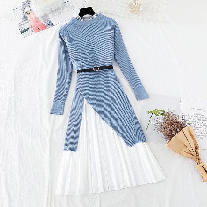 عالية الجودة قطعتين دعوى المرأة سترة محبوك فستان الخريف الشتاء بأكمام طويلة سترة لوتس ليف طوق سترة ثوب دعوى