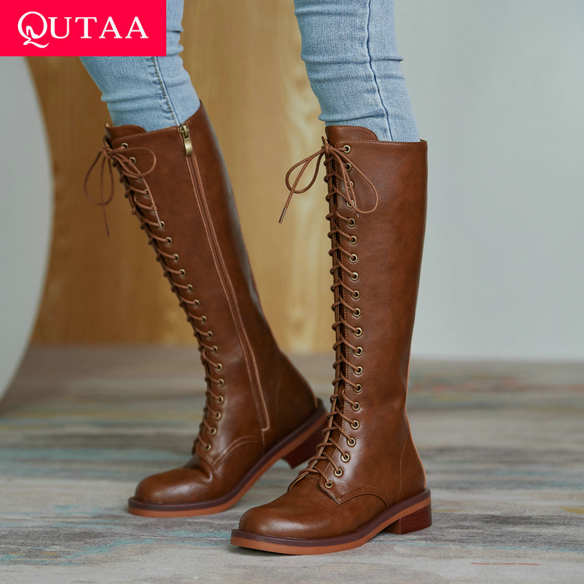 QUTAA-حذاء طويل للركبة مع أربطة وسحاب ، حذاء شتوي من جلد البقر عالي الجودة ، مقدمة مستديرة ، كل شيء مطابق ، مقاس 34-39 ، 2021
