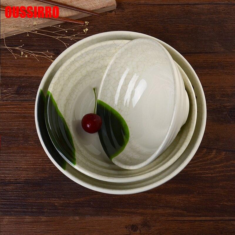1 шт. креативная посуда с рисунком лотоса, прочная меламиновая миска, кухонная живопись