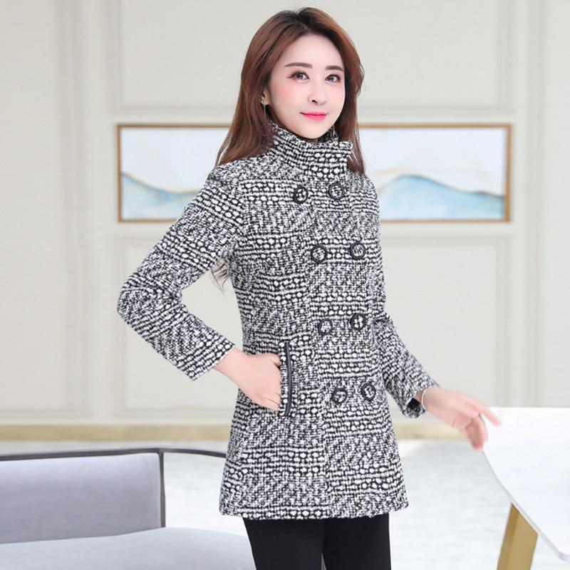 M-6XL النساء الصوف خليط معطف الخريف الشتاء 2021 موضة الأم معطف الياقة المدورة منقوشة ضئيلة طويلة تويد الصوفية ملابس خارجية الإناث