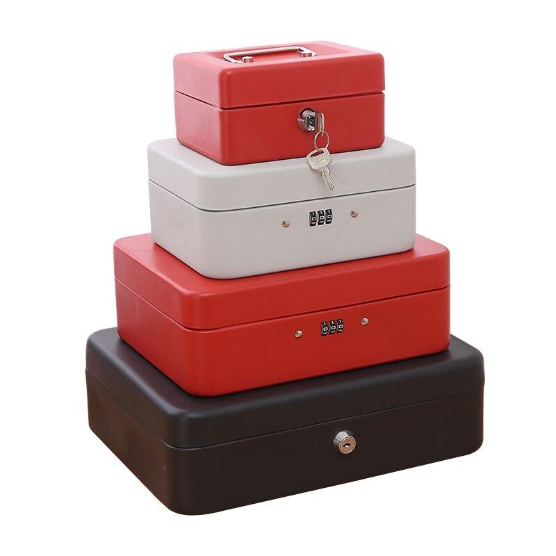 caixa de ferro pequeno portatil com armazenamento de bloqueio engrossado dinheiro