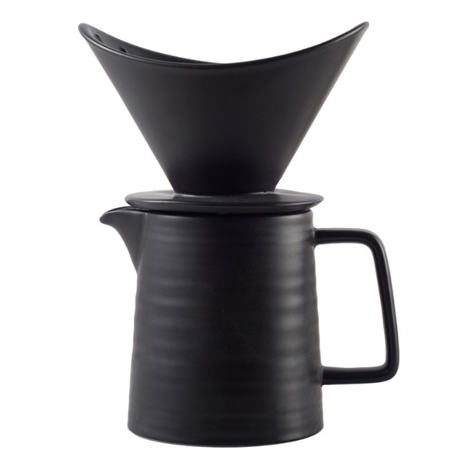 500ml V60 Ceramic Coffee Dripper 1-2 Cups Coffee Drip Filter Pot Permanent Pour Over Coffee Maker with Separate Stand for Filte