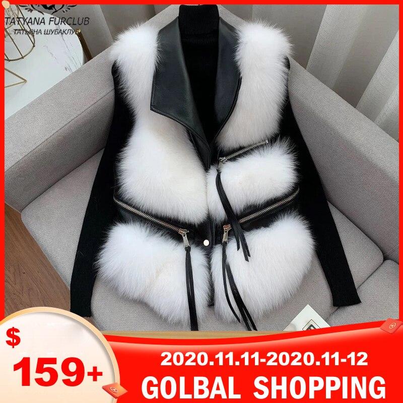 Novo inverno real pele de raposa colete com couro de ovelha genuína 2020 moda alta qulaity magro casacos de pele de raposa sem mangas feminino