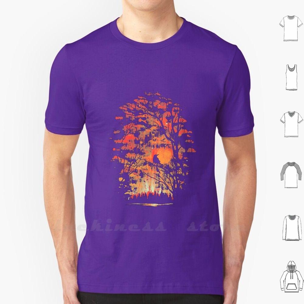 Burning Sky T Shirt Custom Design Print Burning Sky Robson Borges Artsy Sky Bird Landscape Cityscape Night Music Red Texture