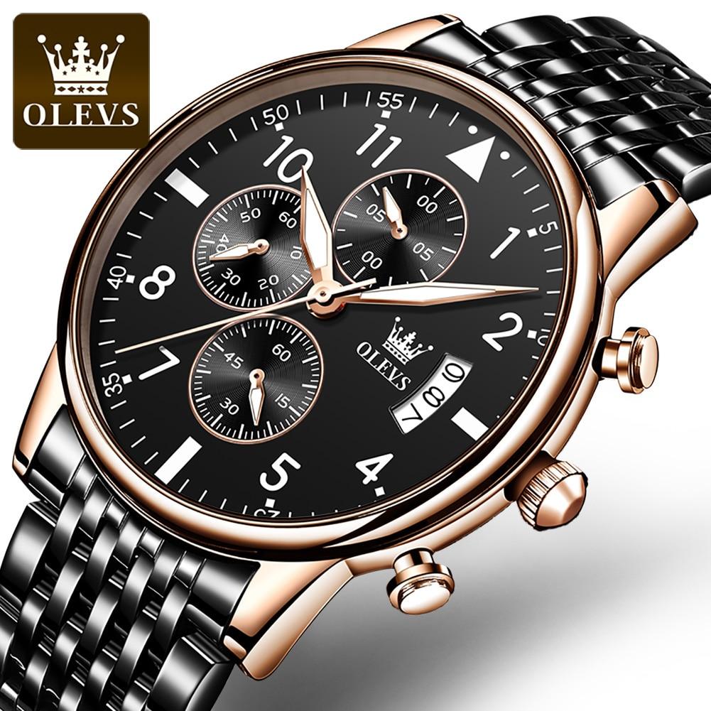 2021 New Fashion Stainless Steel Watch Top Brand Luxury Waterproof Sports Chronograph Quartz Mens Watches Relogio Masculino