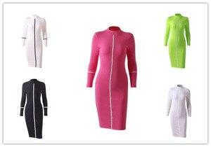 2020 Women O-neck thin slim Long Sleeve Autumn Winter Long Dress Sexy Casual Party Bodycorn Dress Skinny