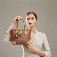 luxury brand leather printed ladies bucket bag 2021 new fashion handbag commuter retro single shoulder messenger bag monogram