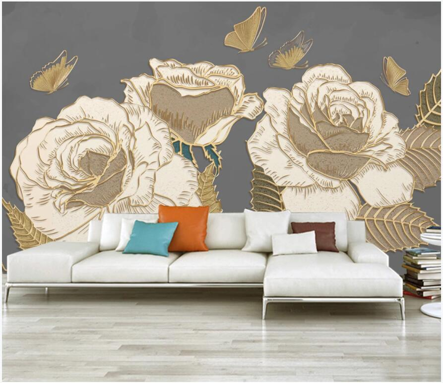 Papel pintado 3d con foto personalizada mariposa Rosa pintada a mano líneas de relieve doradas sala de estar pared 3d murales papel tapiz para paredes 3 d