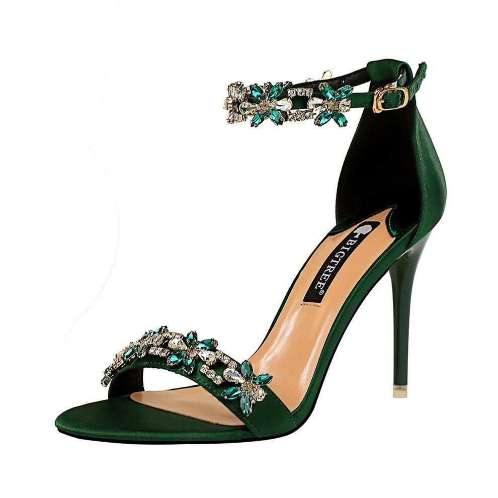Туфли женские на высоком каблуке, модные туфли на шпильке, атласные сандалии с открытым носком и ремешком на одном каблуке