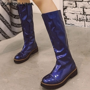 Karinluna Large Size 33-48 Leisure 2020 Chunky Heels Autumn Winter Waterproof non-slip Woman Shoes Riding Boots