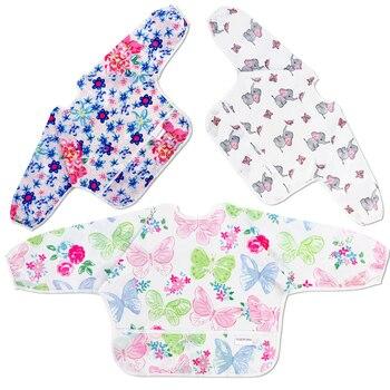 Baby Bibs Waterproof Long Sleeve Infant Feeding Bib with Pocket Cute Cartoon Apron Kids Burp Cloth Unisex Baby Stuff Fashion Bib