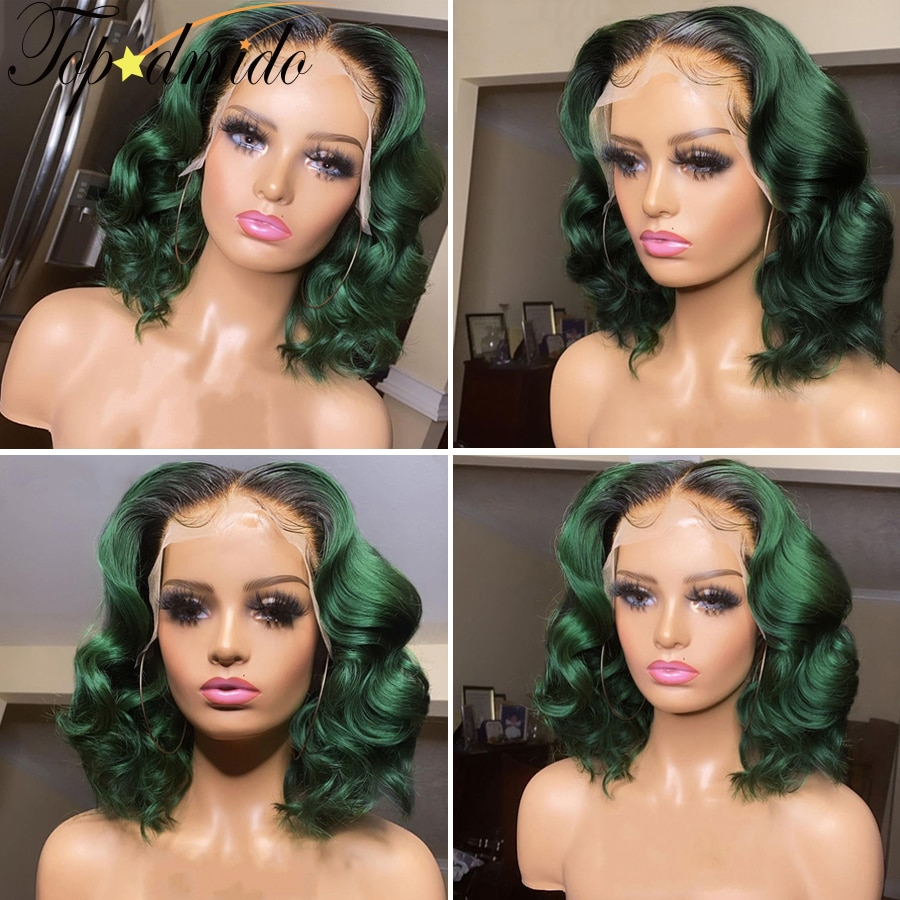 TOPODMIDO Ombre Green Color 4x4 Closure Wigs Baby Hair Brazilian Remy Hair 13x6x1 Lace Front Human Hair Wigs Short Bob Wigs