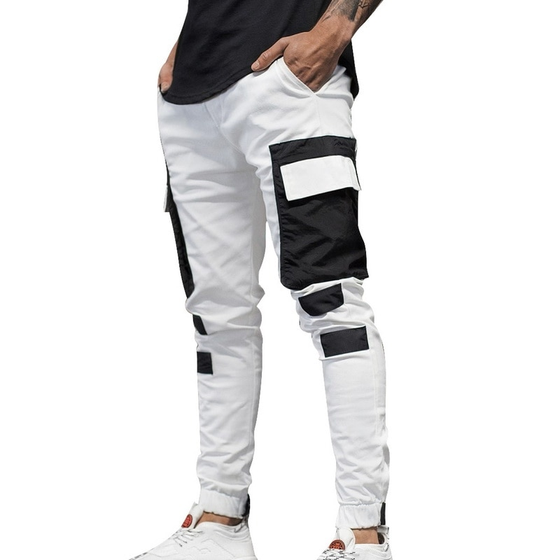 HEFLASHOR Men's Multi Pockets Cargo Harem Pants Hip Hop Streetwear Trousers Male Track Pant Slim Workout Work Pencil Pant Jogger