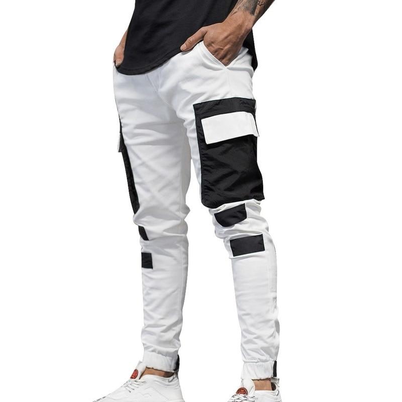 HEFLASHOR Men's Multi Pockets Cargo Harem Pants Hip Hop Streetwear Trousers Male Track Pant Slim Workout Work Pencil Pant Jogger