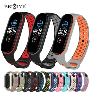 Silicone Strap For Xiaomi Mi Band 5 6 Porous Anti-sweat Double Color Bracelet Sport Breathable Watchband Replacement Wrist Strap