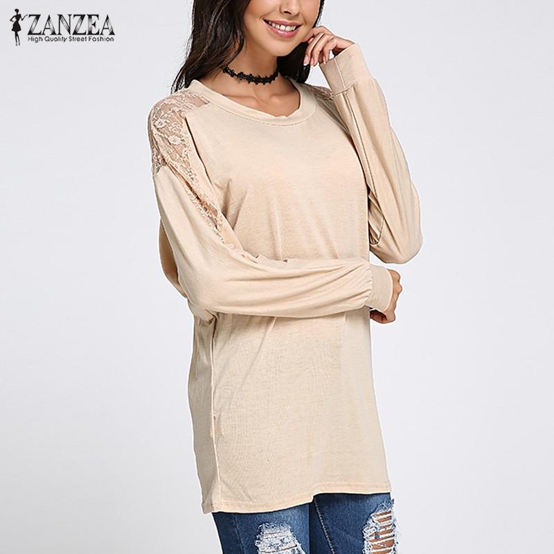 Fashion Women Blouses ZANZEA  Sexy Lace O Neck Long Sleeve Shirt Female Chiffon Blusas Mujer Casual Solid Loose Top Plus Size