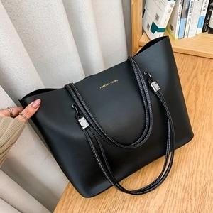 2 Pcs/set Shoulder Bags Big Women Designer Large Capacity Tote Lady 2021 PU Leather Solid Color Winter Shopping Handbags Purses