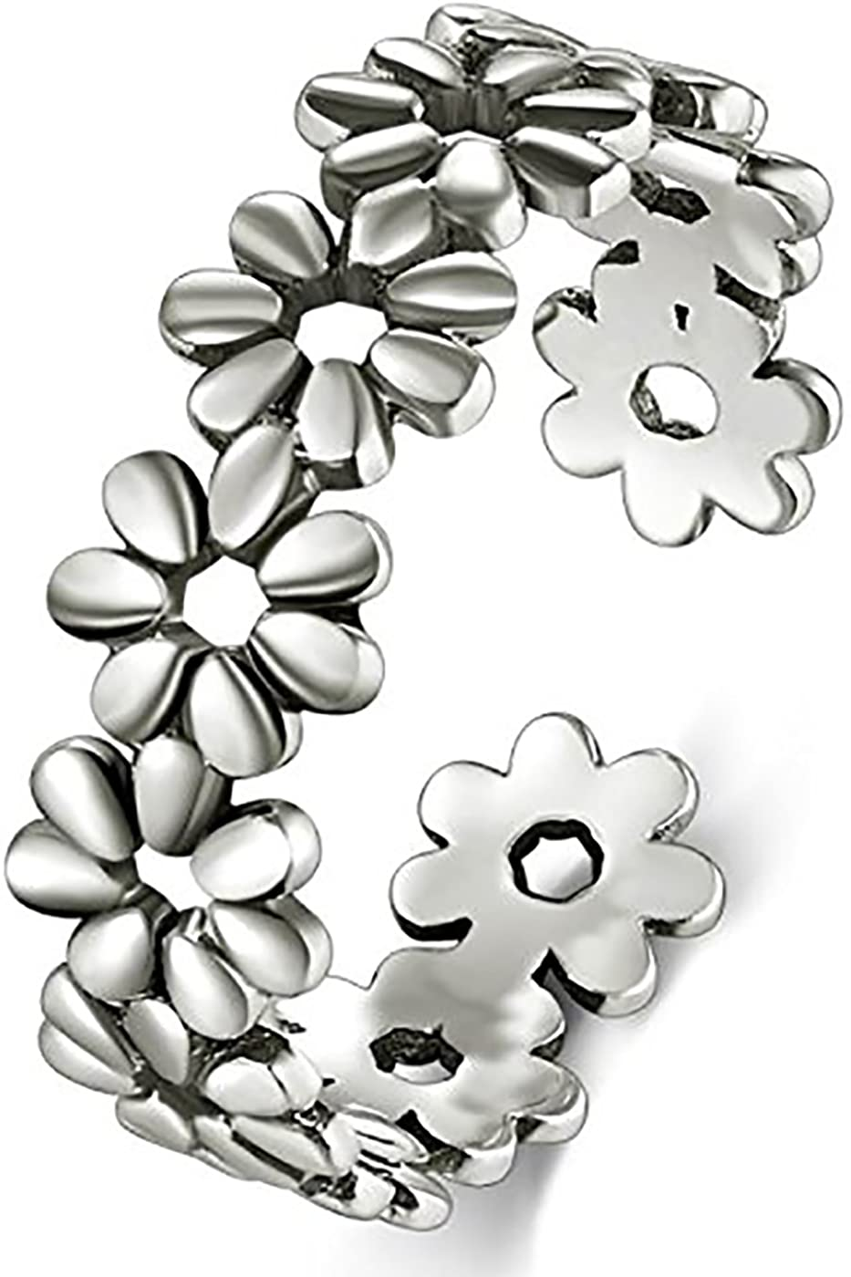 Toe Rings for Women Stainless Steel Daisy Flower Hawaiian Adjustable Band Ring Benefiting The American Red Cross Summer Beach