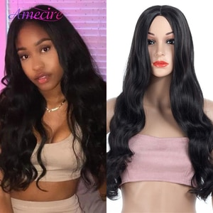 Long Black Synthetic Hair Wig Heat Resistant Synthetic Long Body Wave Wigs For African American Women Daily Party Wig