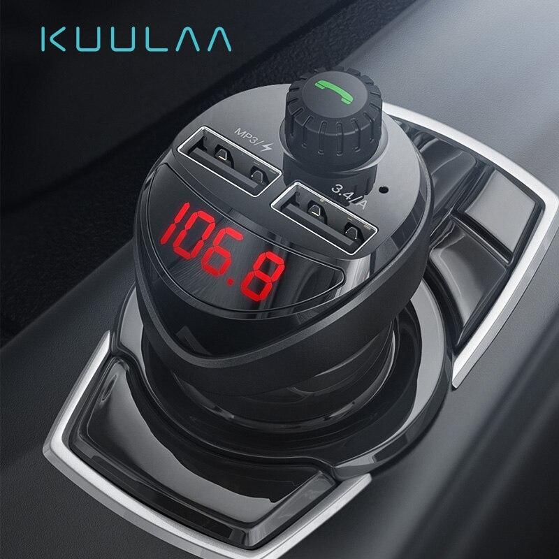 KUULAA Auto Ladegerät FM Transmitter Bluetooth Auto Audio MP3 Player TF Karte Auto Kit 3,4 EIN Dual USB Auto Telefon ladegerät Für Xiaomi Mi