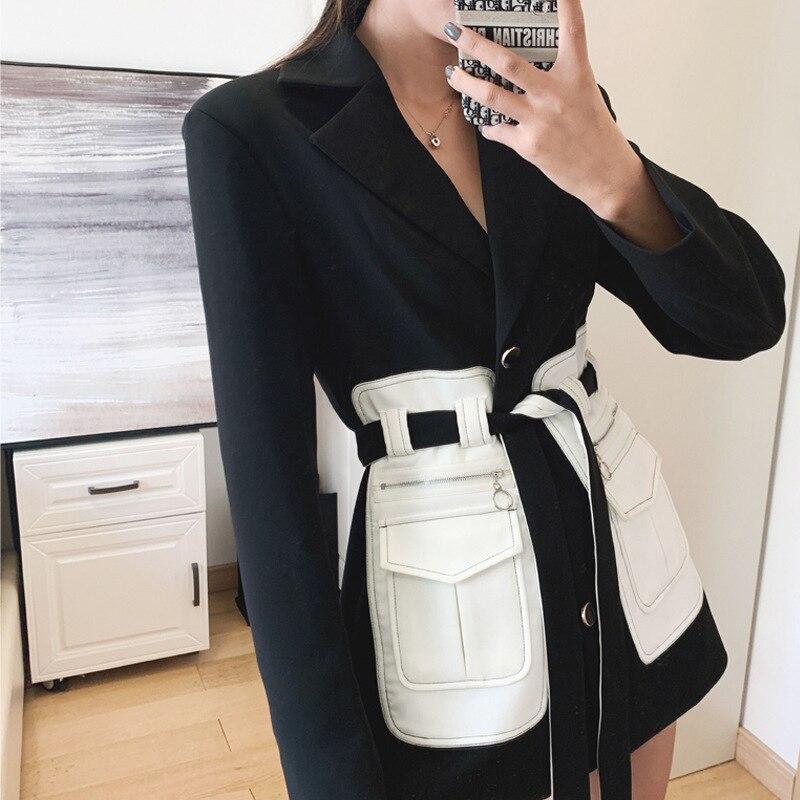 SONDR de primavera 2020. Cinturón de mujer con bolsillos de Pu, chaqueta con cuello de traje negro, retales de mujer estilo Safari Tops