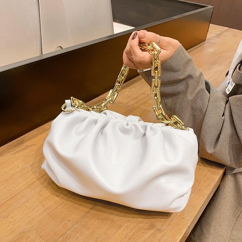 Elegant Solid Color Pleated Tote Bags for Women Simple Soft Leather Cloud Dumpling Bag Female Thick Gold Chain Shoulder Handbag
