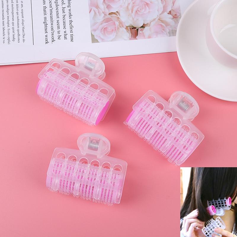 3Pcs/lot Plastic Self Grip Hair Rollers Clips Cling Salon Hairdressing Maker 5.5*2.5*6.5cm DIY Pink