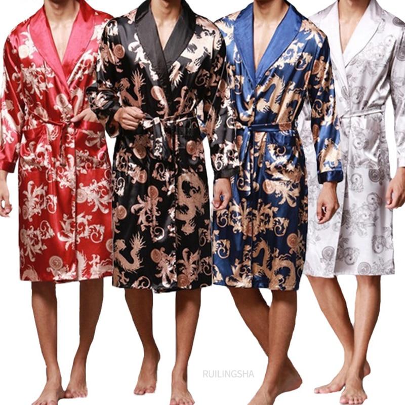 Fashion Men's Bathrobe Silk Kimono Long Sleeves Robe Chinese Lucky Dragon Print Pajamas Men Gown Bathrobe Men Homewear Sleepwear