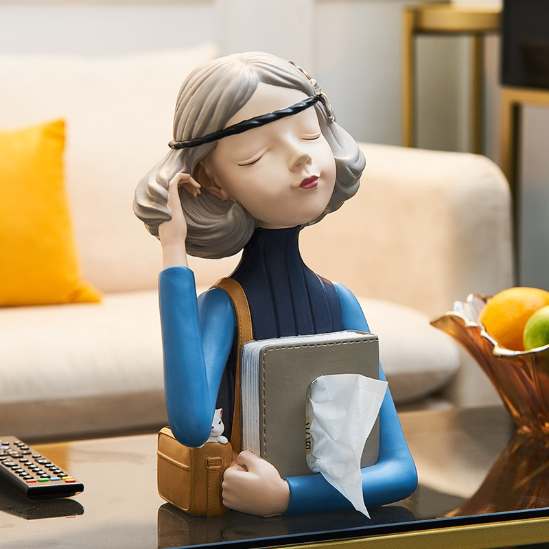Creative Resin Sculpture Crafts Bubble Girl Paper Towel Storage Box Living Room Coffee Table Ornaments Nordic Luxury Home Decor