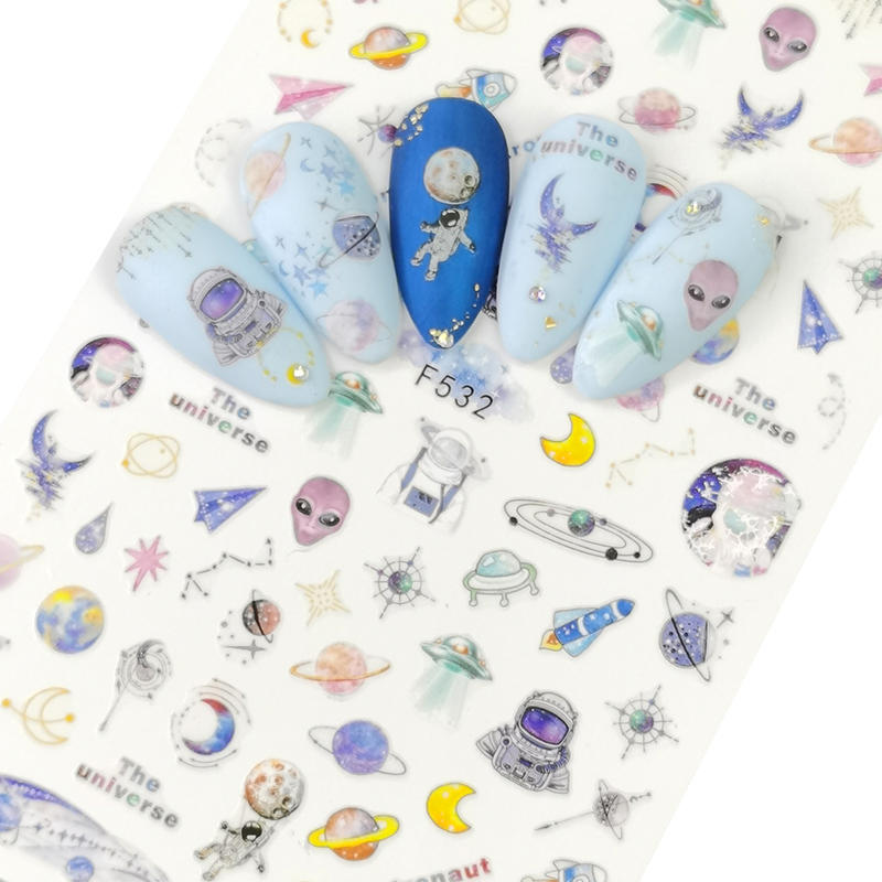 AliExpress - 3D Nail Sticker Slider Nails Art Tattoo Decals Foil Planet Moon Alien Design Decoration Adhesive Manicure Tips Pegatina Wraps
