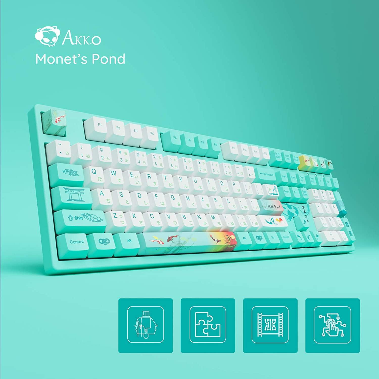 Akko لوحة المفاتيح الميكانيكية السلكية 3087 3098 3108DS مونيه بركة برنامج لعبة OEM الشخصي PBT صبغ الفرعية Keycap الوردي البرتقالي الأزرق التبديل
