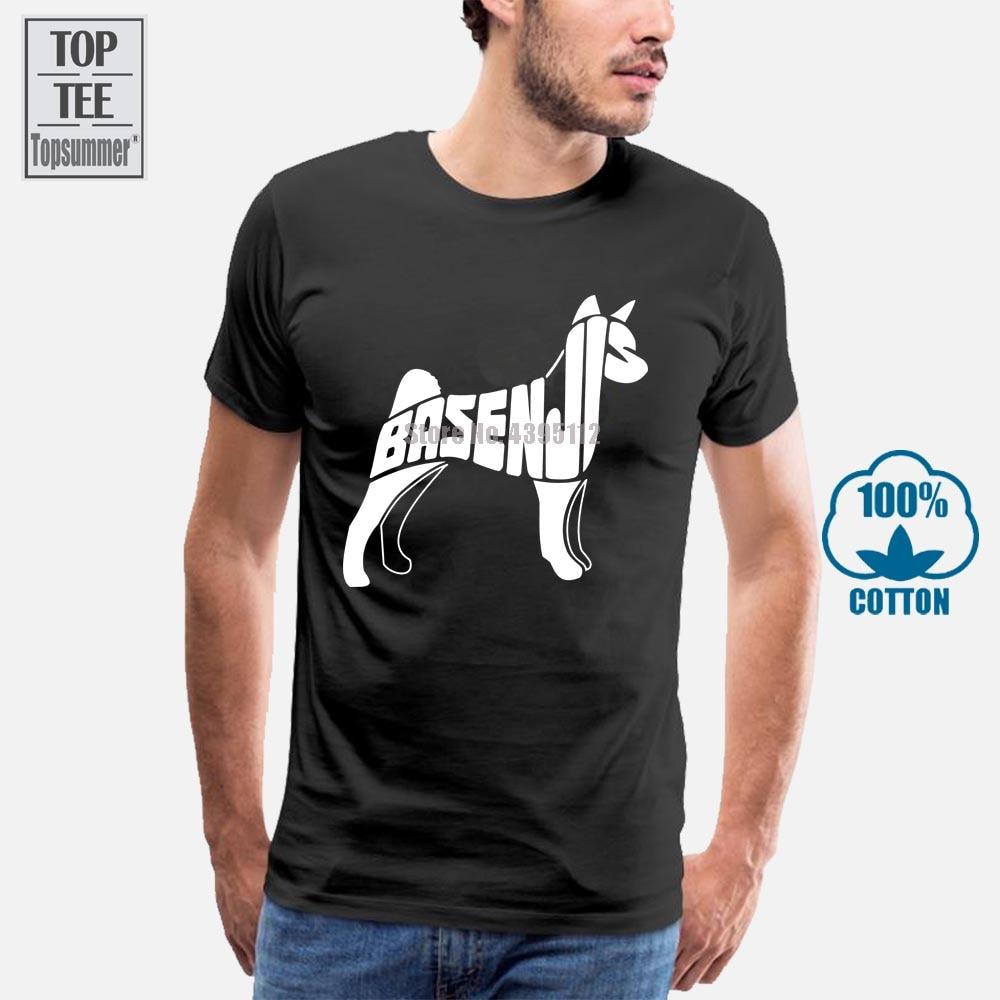 Camisa de algodão dos desenhos animados da arte do cão de basenji camiseta dos homens da roupa