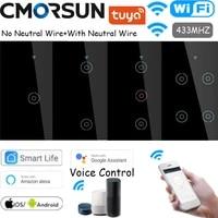 black wifi smart switch rf433 smart lifetuya control work with alexa google home no neutral wirewith newtral wire optional us