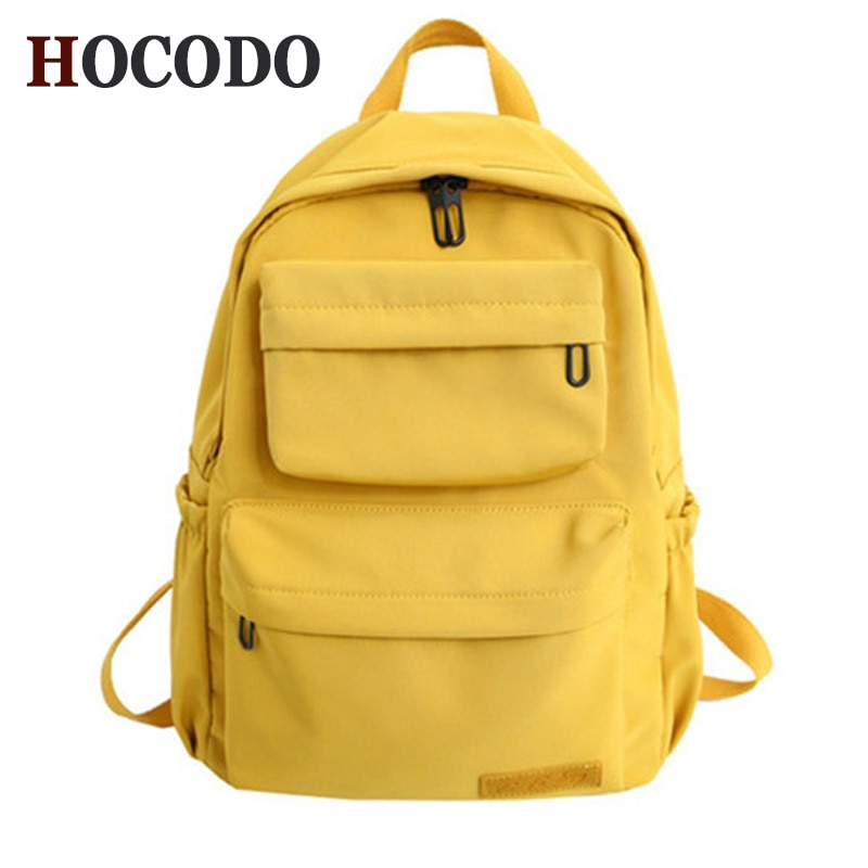 HOCODO Solid Color Backpack For Women 2019 Waterproof Nylon Multi Pocket Travel Backpacks Large Capa