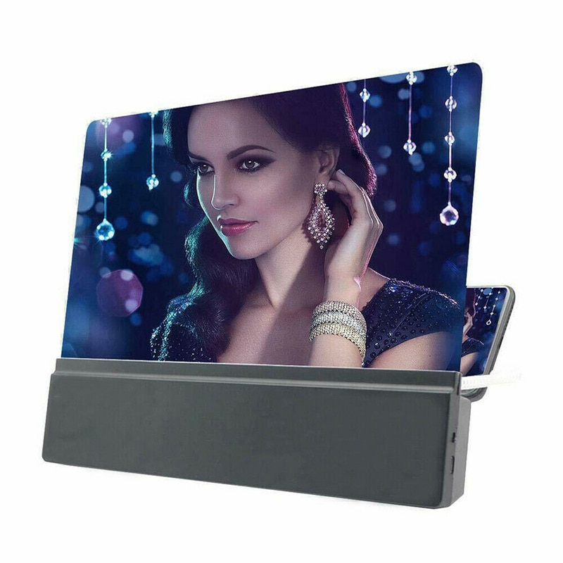 Pantalla de teléfono móvil negra de 12 pulgadas lupa 3D HD Video amplificador Smartphone soporte Bracke /BY