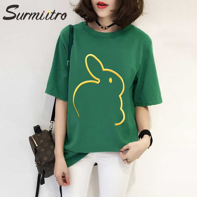 SURMIITRO Loose T-shirts Women Fashion 2020 Summer Cute Rabbit Short Sleeve T Shirt Tees Tops Female Black White Green Tshirt