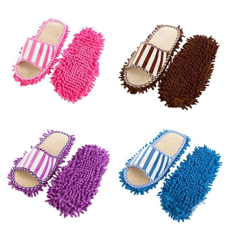 Coral terciopelo raya lavable a máquina zapatillas Chenille Lino perezoso trapeador zapatillas nuevo diseño mujeres Zapatillas de casa Coral