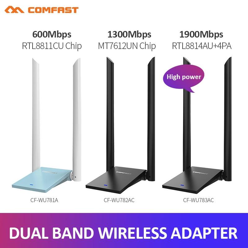 Adaptador USB WiFi inalámbrico de alta potencia 600M-1900Mbps antena USB Dual tarjeta...