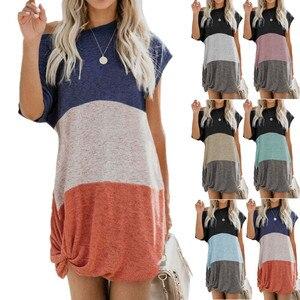Short Sleeve Casual Women Dresses Patchwork High Street Short Dress Summer Loose Beach Sun Dress 5XL Plus Size Female Mini Dress