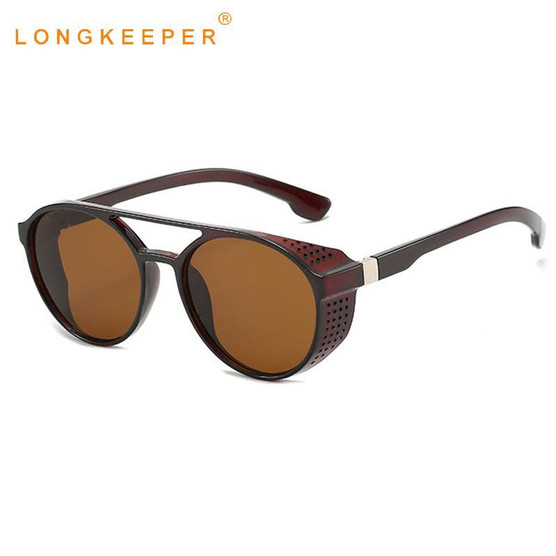 LongKeeper Steampunk Sunglasses Men Women Fashion Round Shield Side Glasses Brand Design Vintage Sun