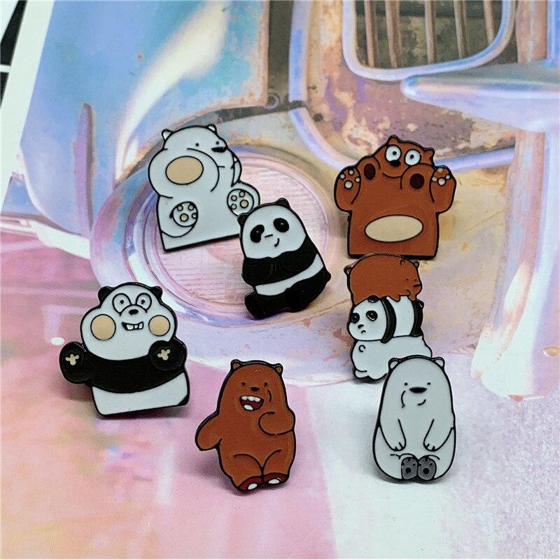 XEDZ cute animal enamel pin funny play ice bear panda brown bear baby reading cute bear badge backpack lapel brooch child gift  - buy with discount
