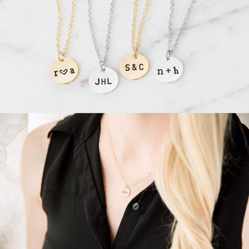 Personalized Disc Necklace, Custom Disk, Hand Stamped Jewelry, Monogram Necklace, Custom Initial Necklace, Name Necklace, Gift ailin engraved kids name necklace gold color initial disc necklace with birthstone remind moms children monogram jewelry