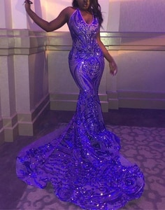 Lanvendia Women Blue Sparkly Sequin Sleeveless Prom Dresses for Party  2020 Sexy V-neck Mermaid Evening Gowns Bridal Gowns