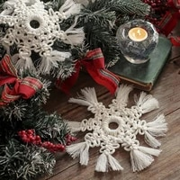 nordic handmade woven macrame cotton snowflake cup pad placemat hanging ornament hanging ornament cup pad placemat