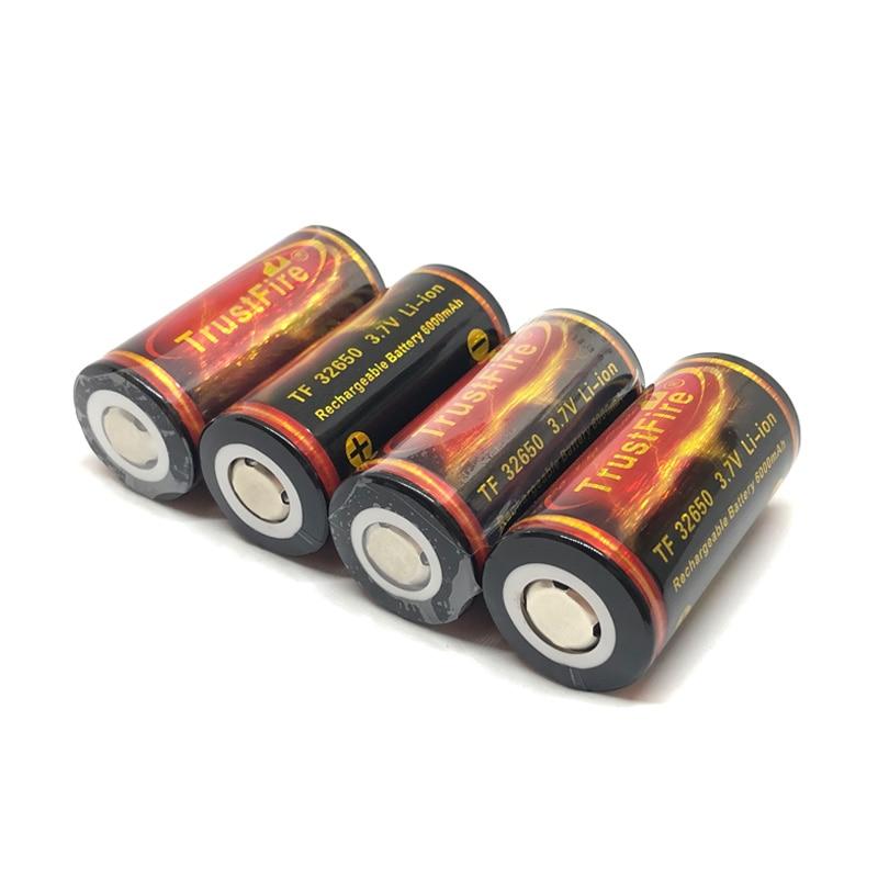 Batería de ion de litio TrustFire de gran capacidad, 10 unidades/lote, 32650 3,7 V 6000mAh, baterías de litio recargables con placa protegida de PCB
